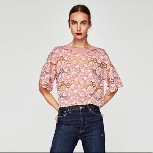 Zara pink & yellow lace top ruffle sleeves - S NWT